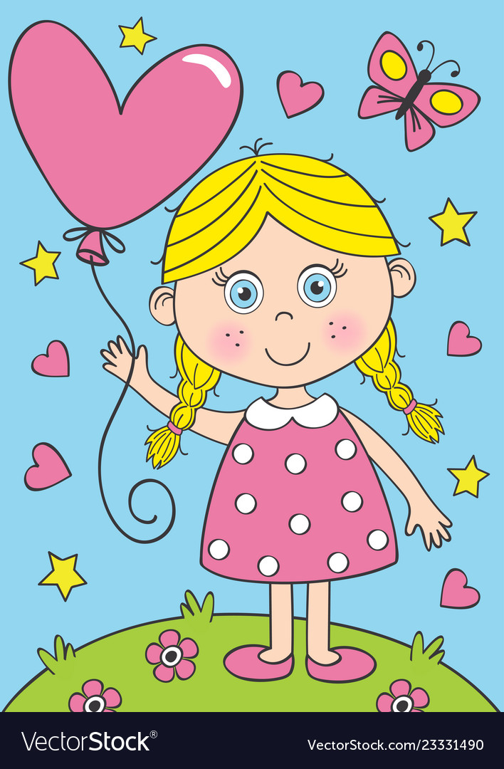 Cute little girl with heart balloon