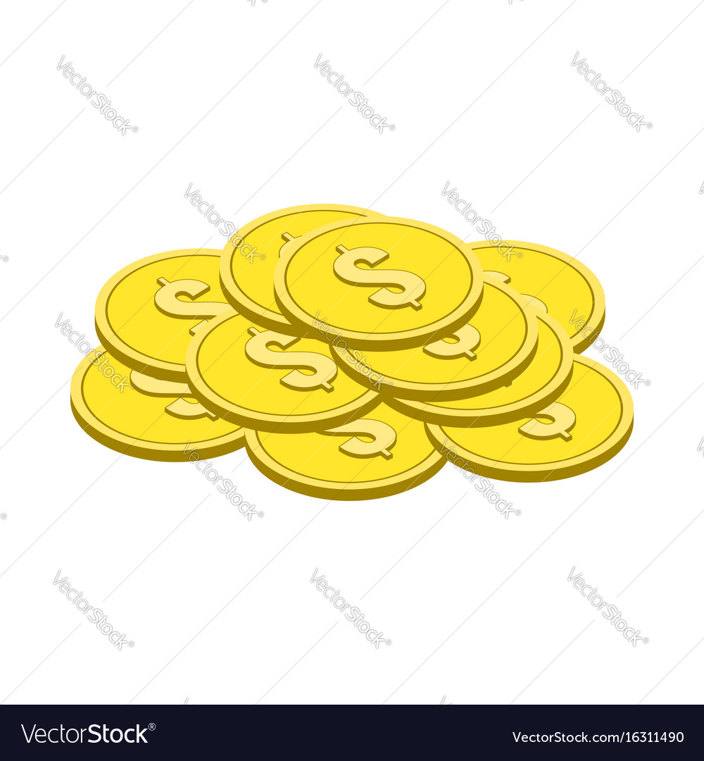 Gold coins symbol flat isometric icon or logo 3d