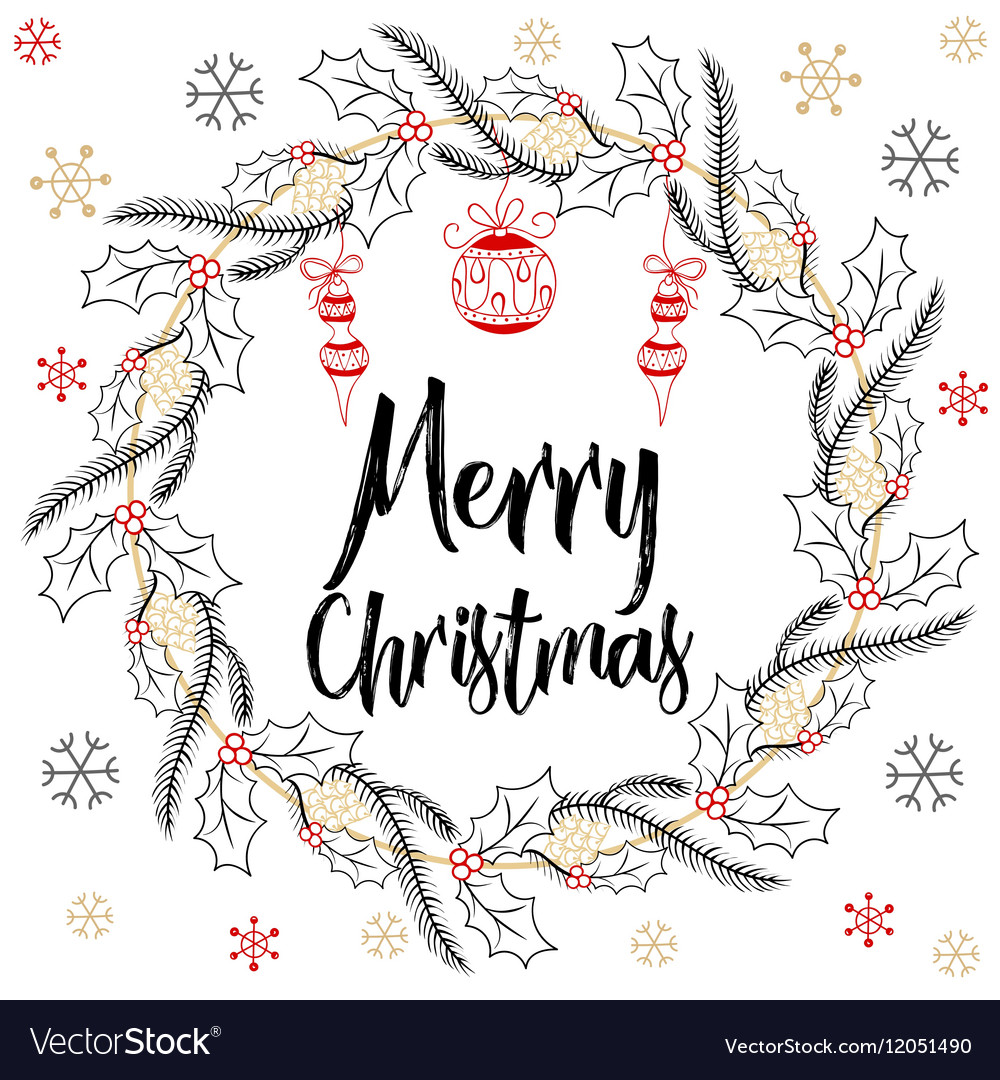 holidays modern calligraphy merry christmas hand vector image vectorstock