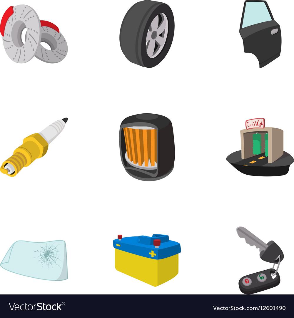 Maintenance car icons set cartoon style