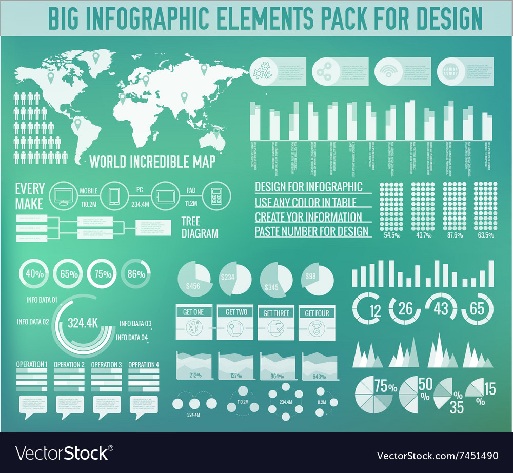 Modern big infographic elements chart set on