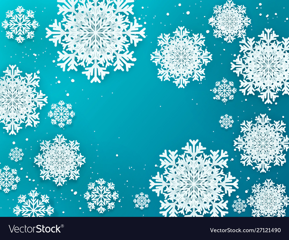 Paper flakes background christmas 3d winter