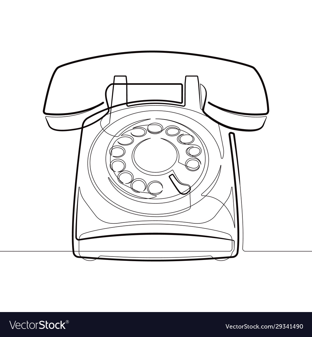 Rotary phone retro one line abstract icon