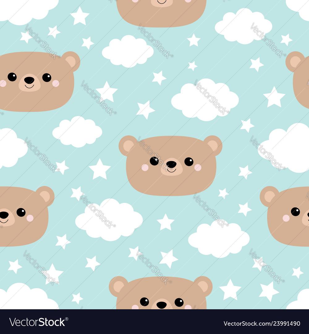Seamless pattern bear face cloud in the sky cute