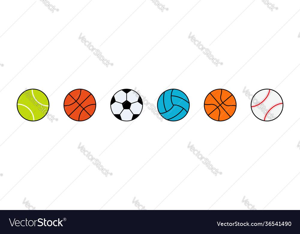 Sport ball icons balls forfootball baseball