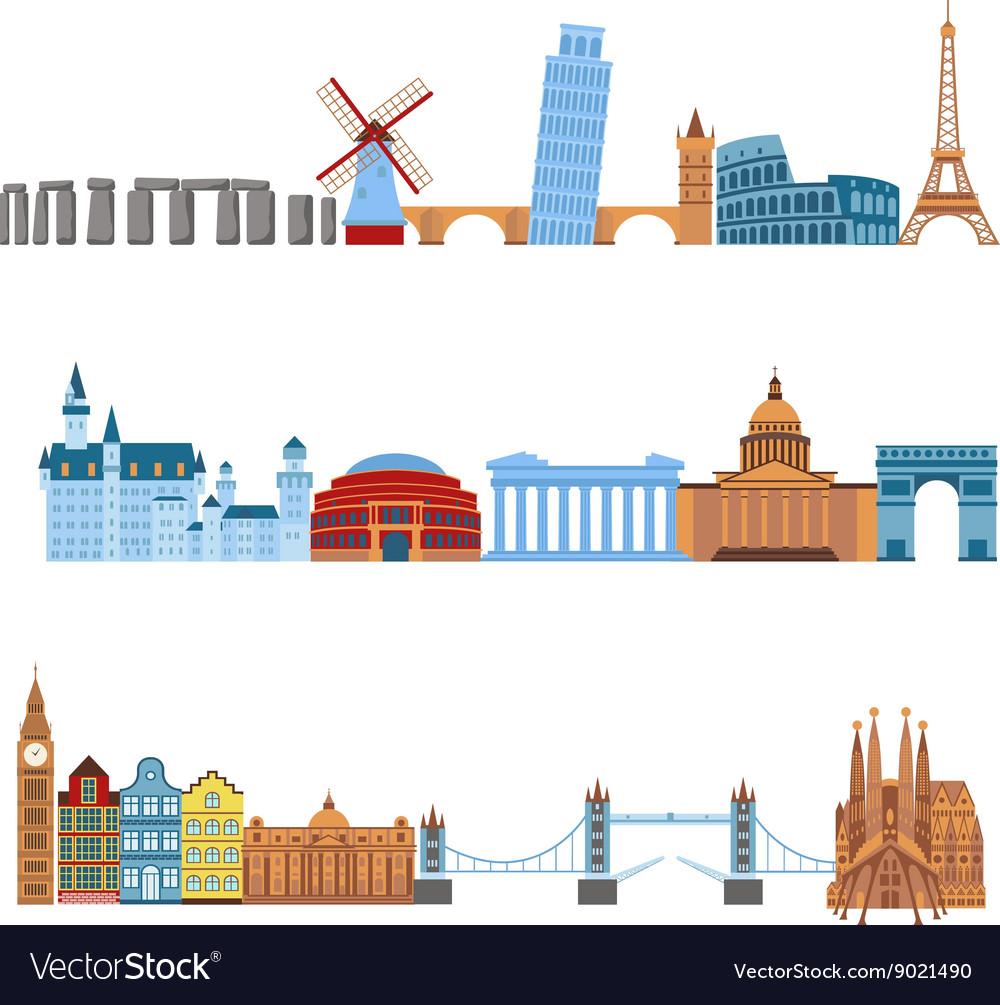 Travel places set