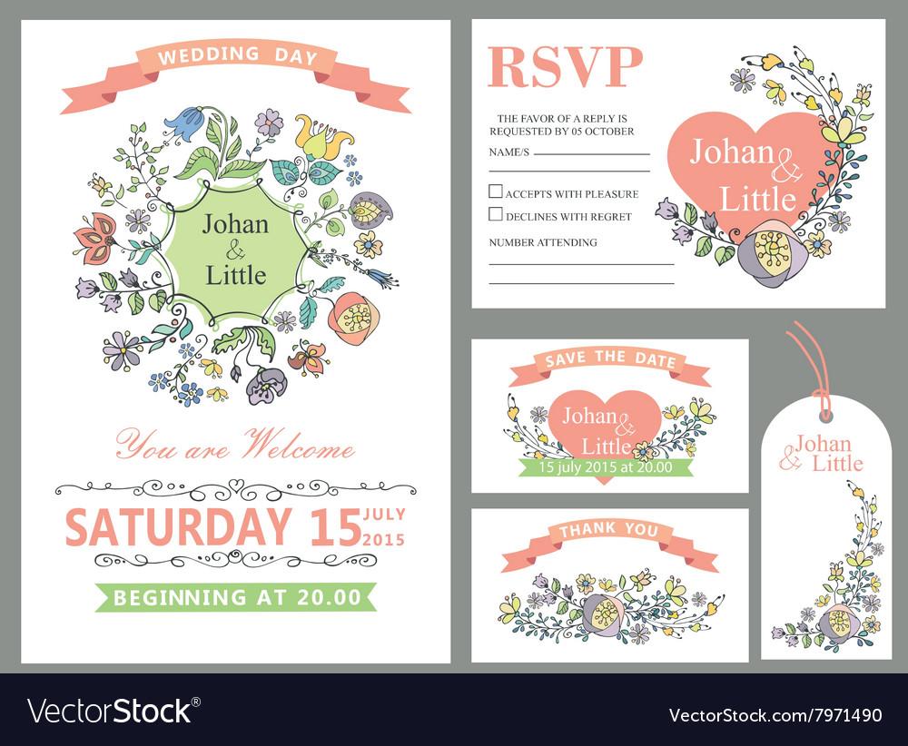 Wedding design template setDoodle Floral decor