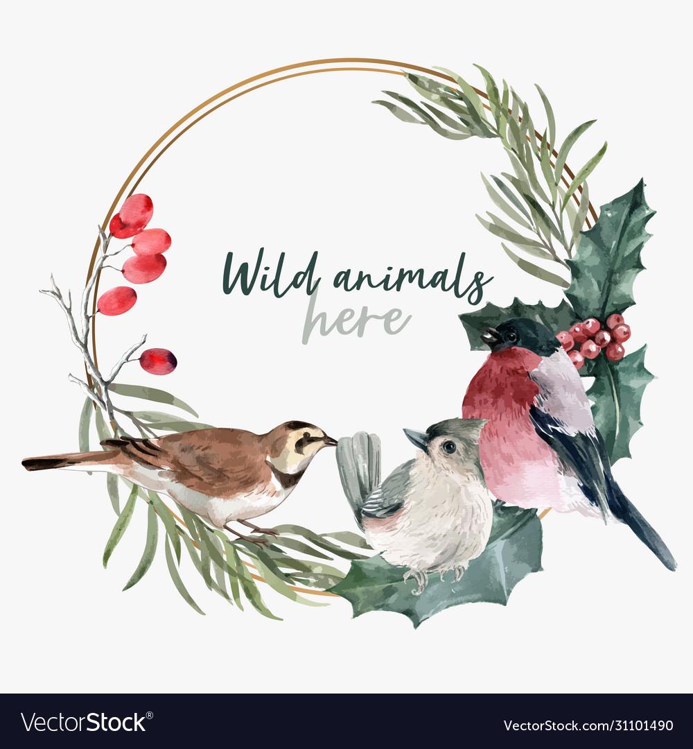 Winter animal wreath design with bird watercolor