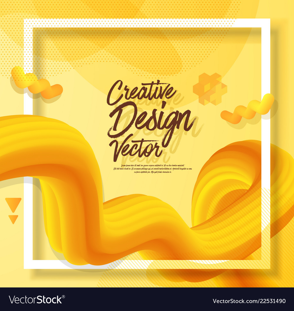 Yellow liquid abstract poster design 3d style