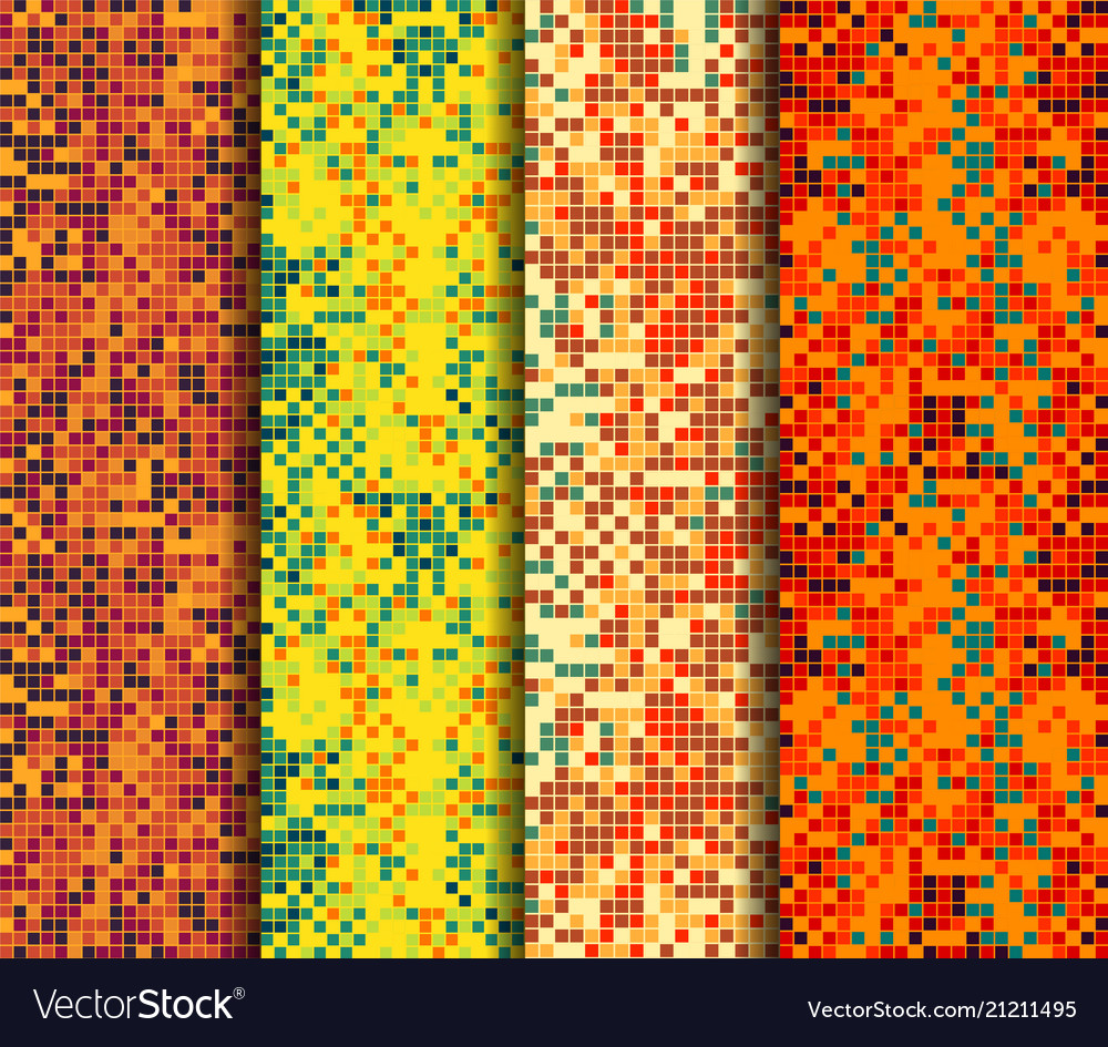 Abstract backgrounds set with colorful pixels