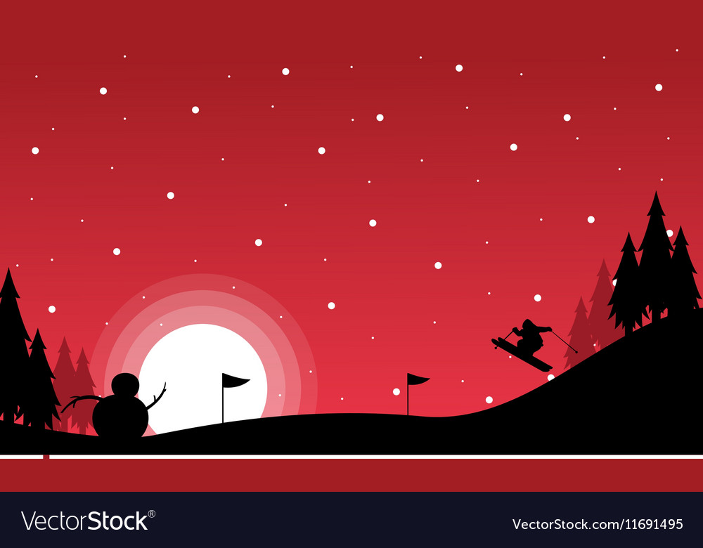 At night Christmas landscape with snowman