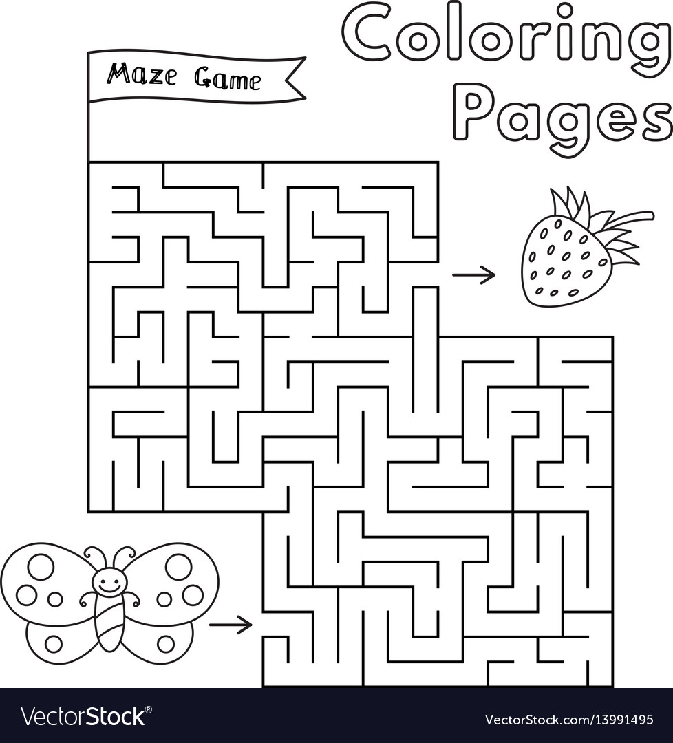 Cartoon butterfly maze game vector image