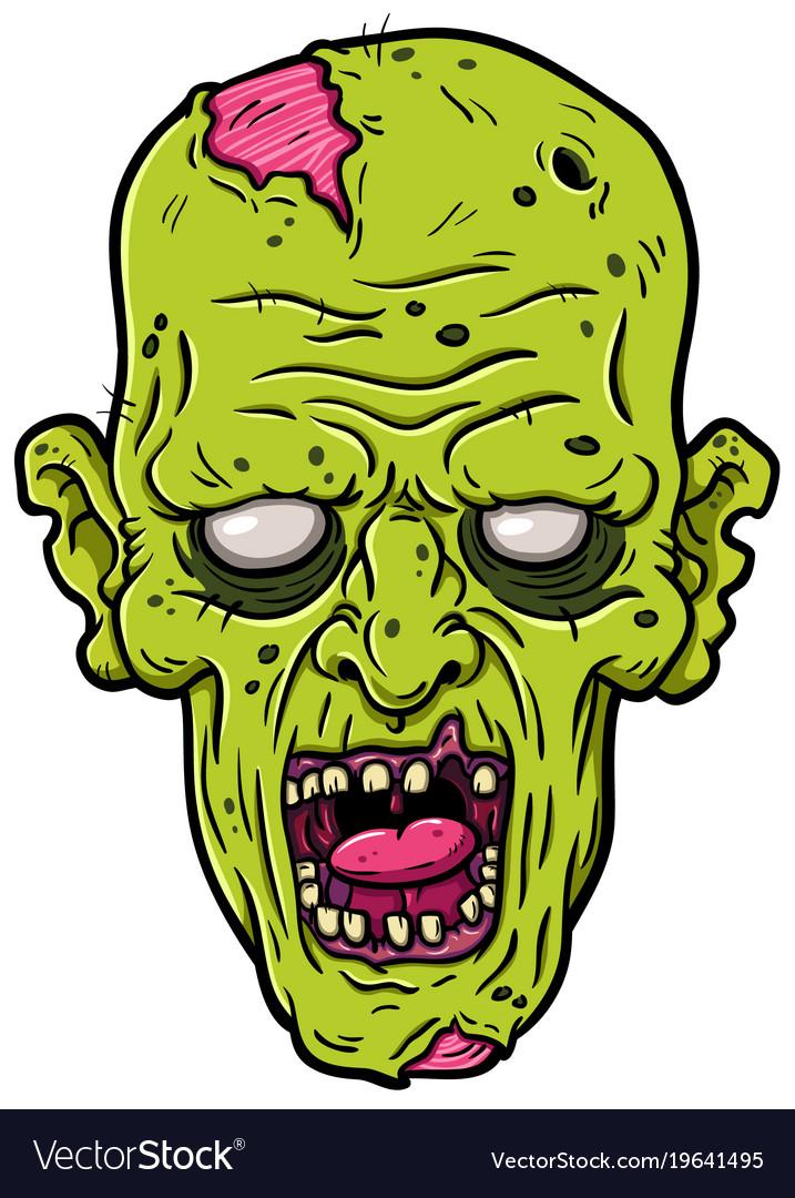 Cartoon rotting zombie head