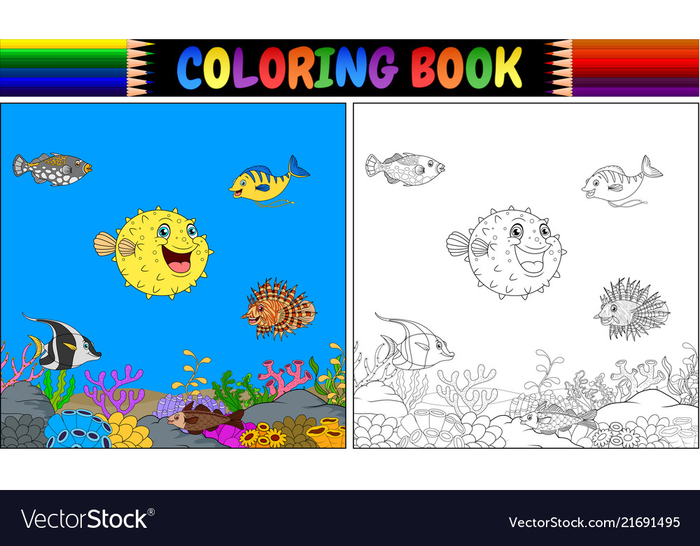 Coloring book various fish undersea
