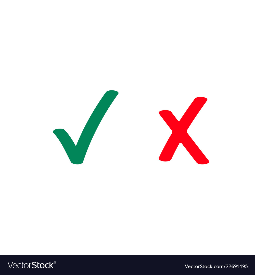 Green tick and red checkmark icons