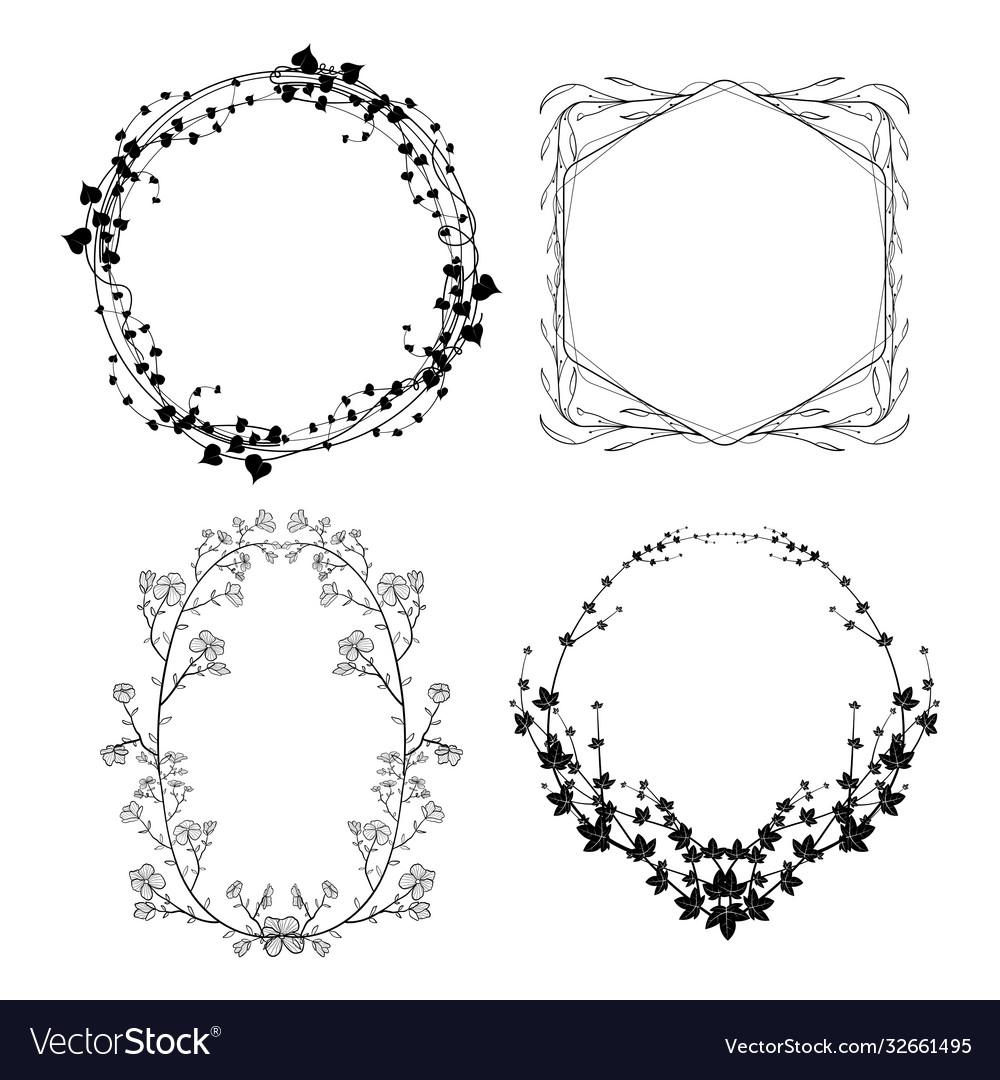 Hand drawn flora frame set