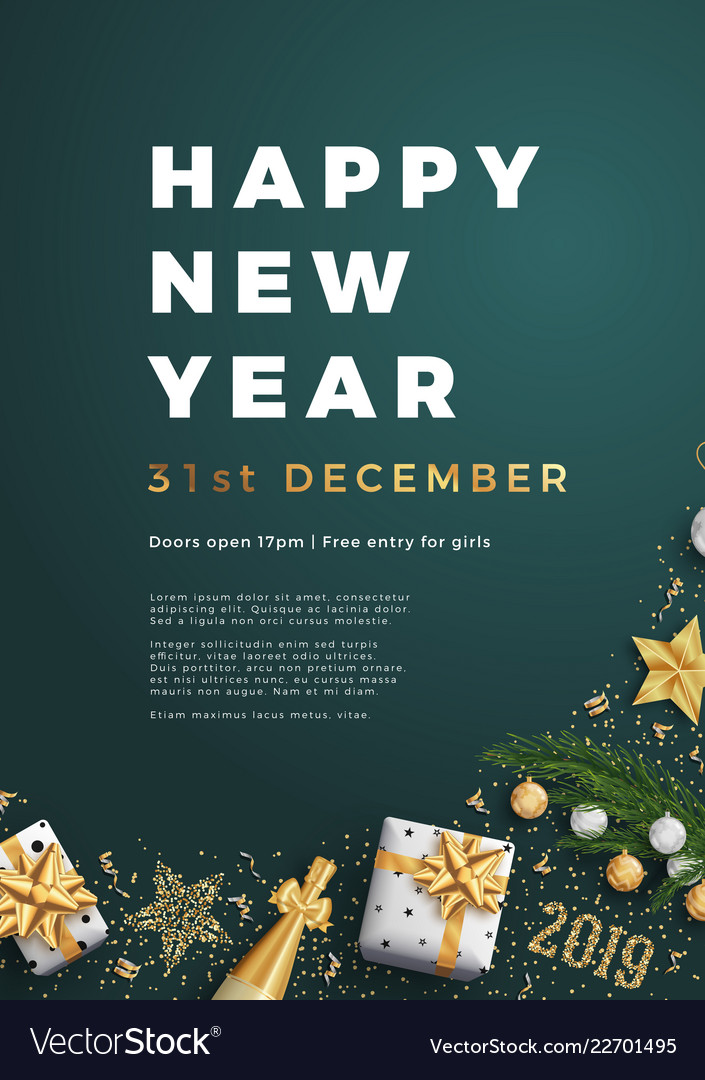 Happy new year party layout poster poster or flyer vector