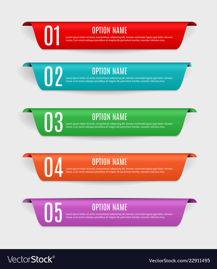 Infographic templates with color labels steps an