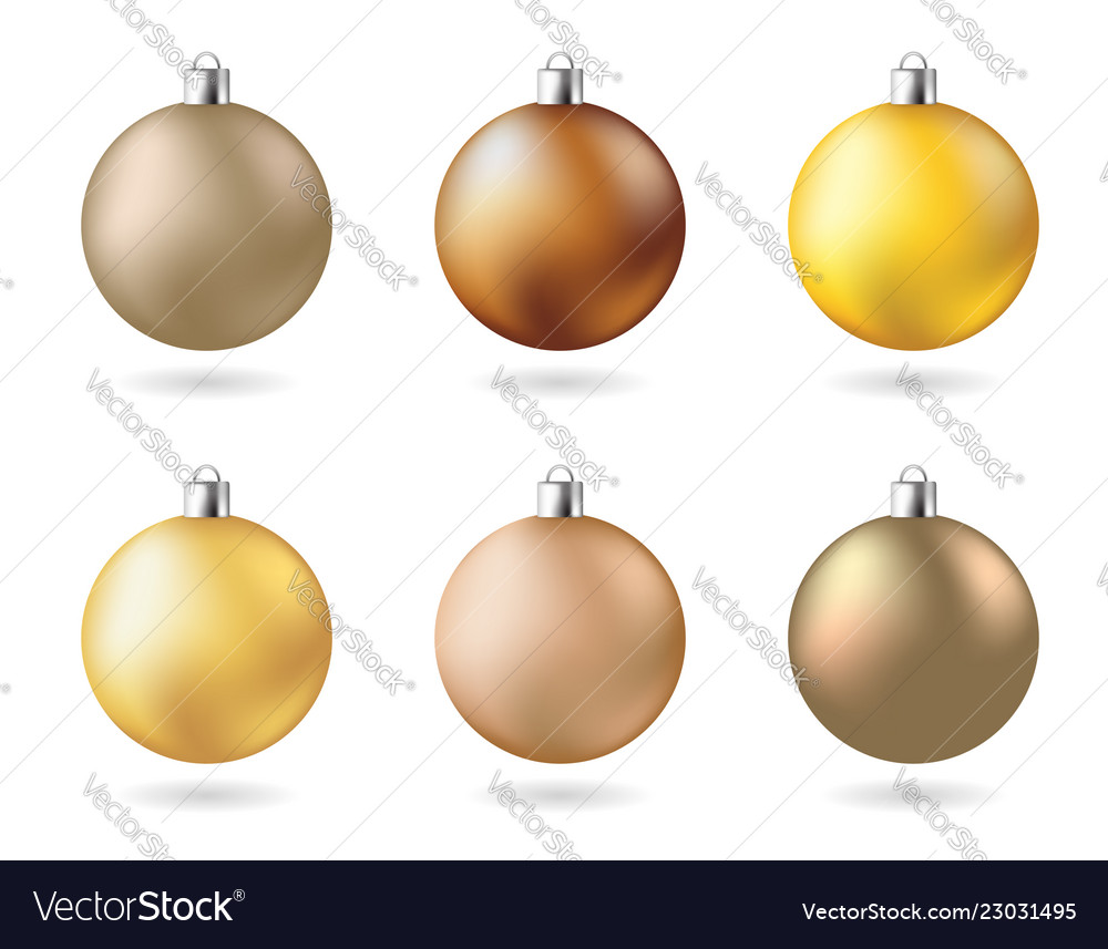 Matt color yellow gold new years party balls set