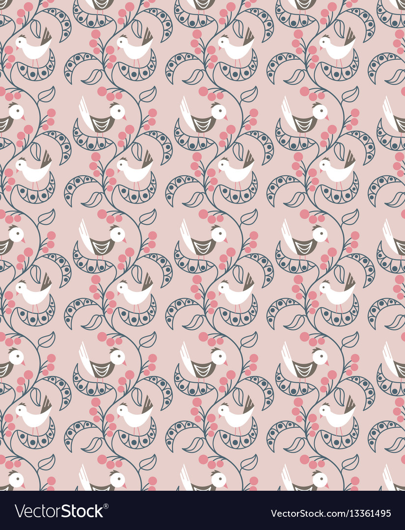 Seamless pattern with berries leaves and birds