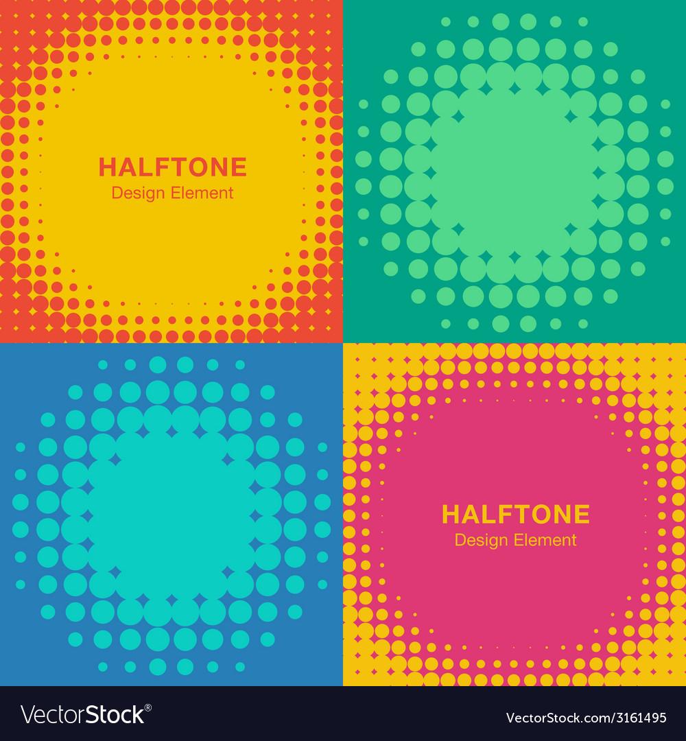 Set of Modern Flat Halftone Backgrounds