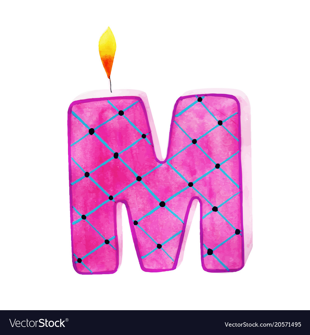 Watercolor happy birthday letter m candle Vector Image