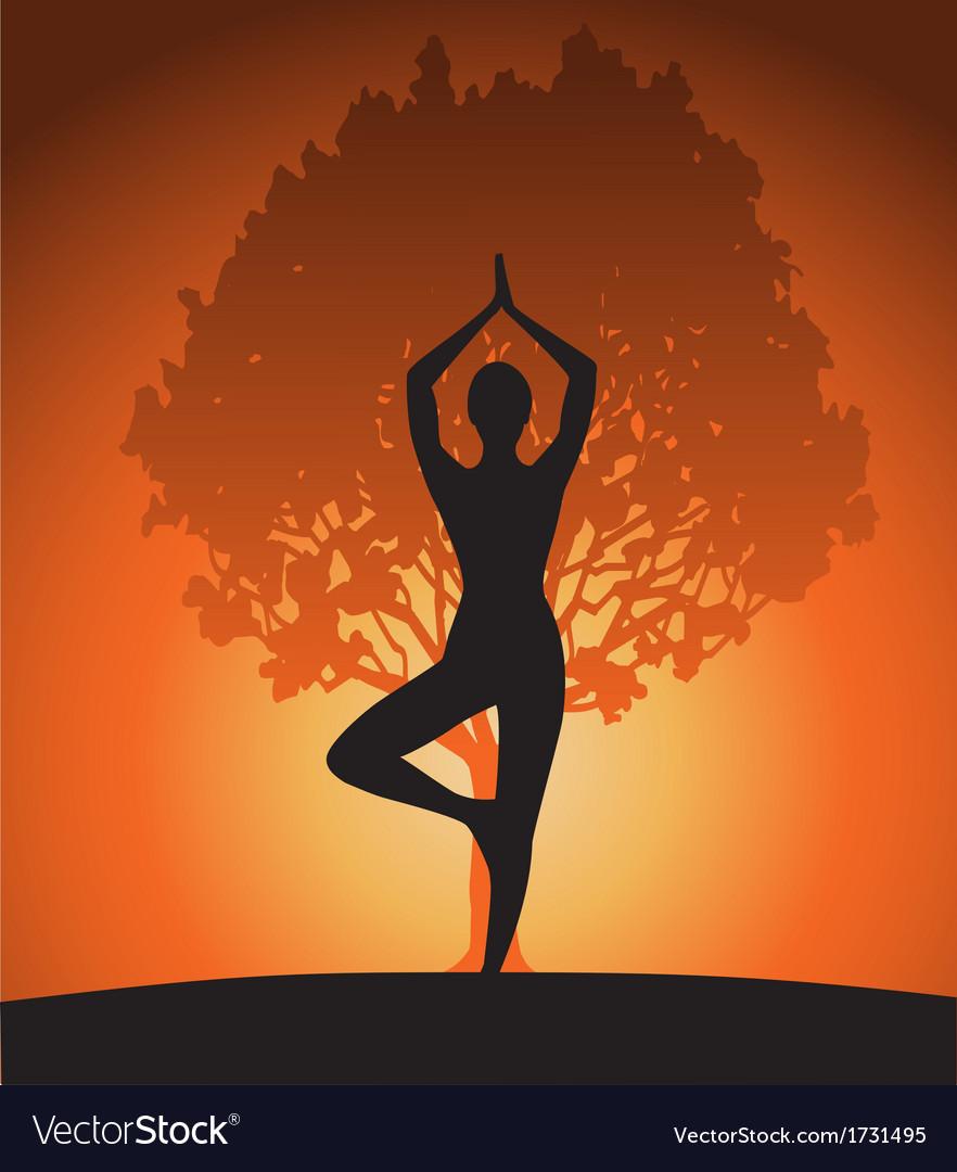 Woman In Yoga Tree Asana Royalty Free Vector Image