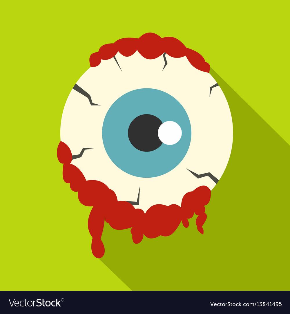Zombie eyeball icon flat style