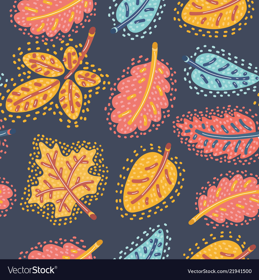 Autumn seamless pattern with falling leaves