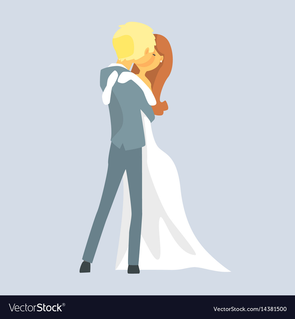Beatuful bridal couple kissing romantic couple vector image