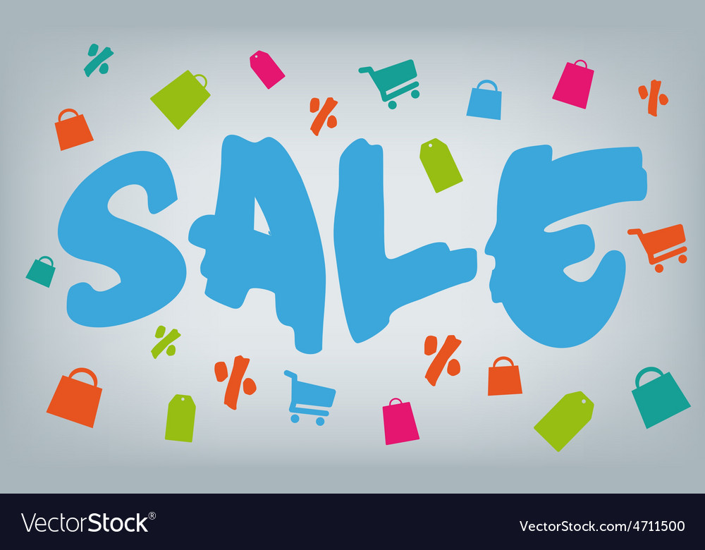 Brush style sale with shopping icons vector image