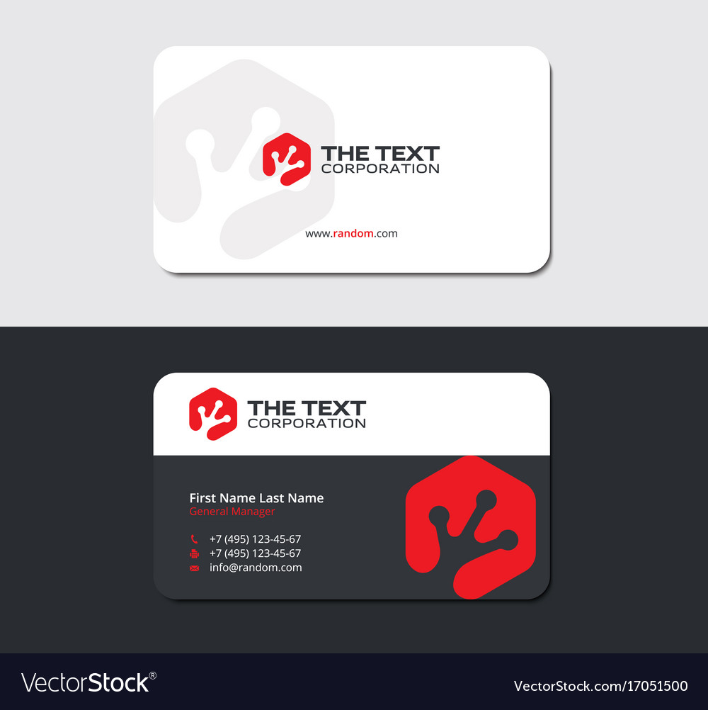 Business card with a gecko foot print in hexagon Vector Image