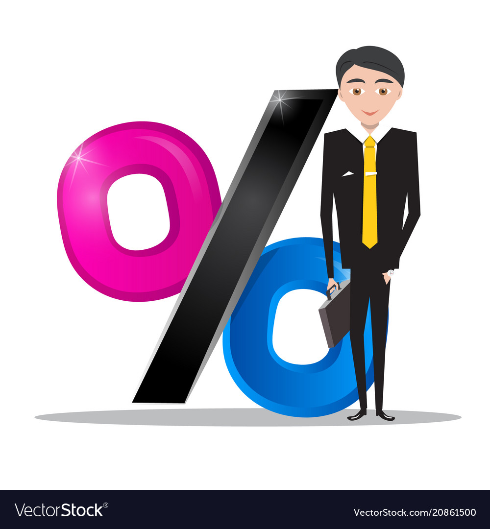 Businessman in suit with percent icon business