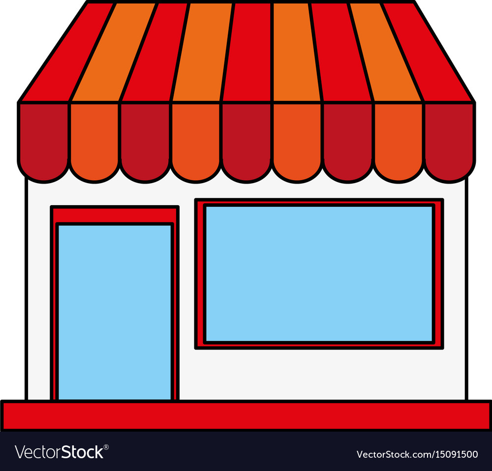 Color image cartoon facade shop store