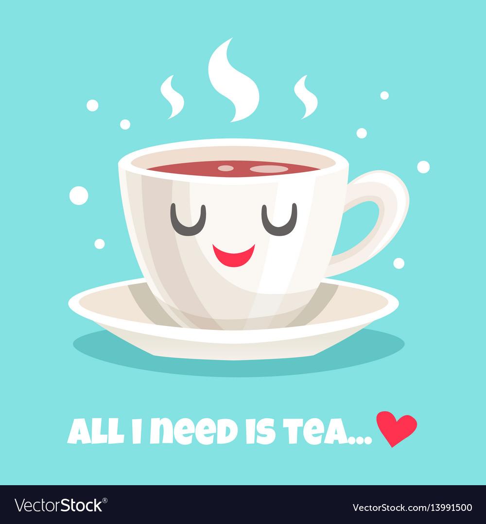 Cute teacup of black tea