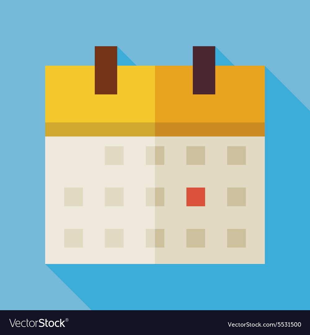 Flat Office Time Management Calendar with long vector image
