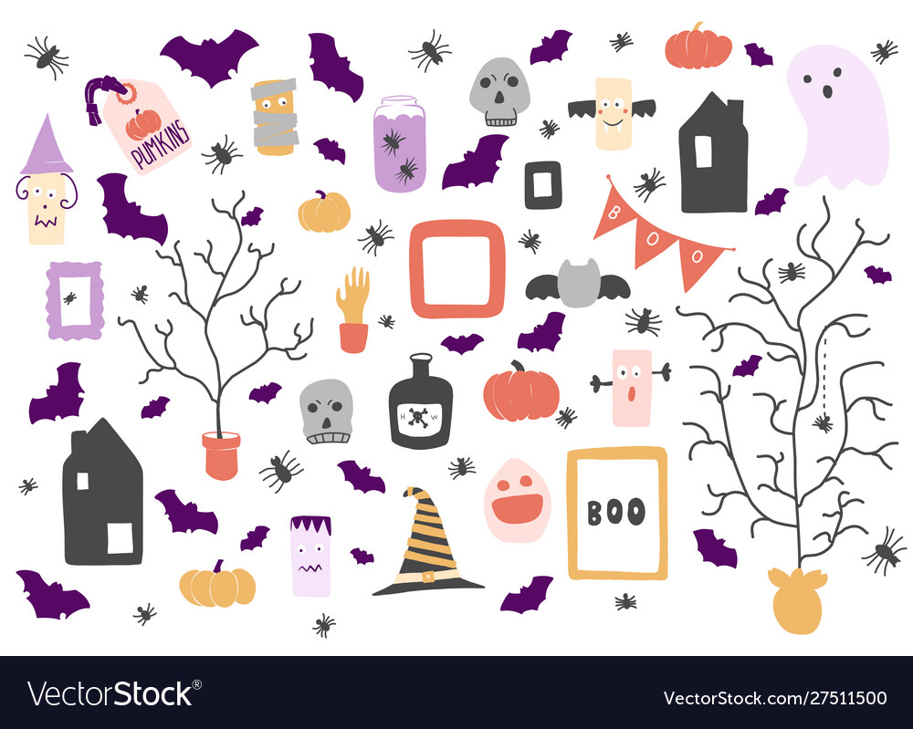 Halloween icons set design elements for a holiday