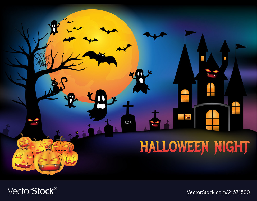 Happy Halloween Night Party Scary Pumpkins