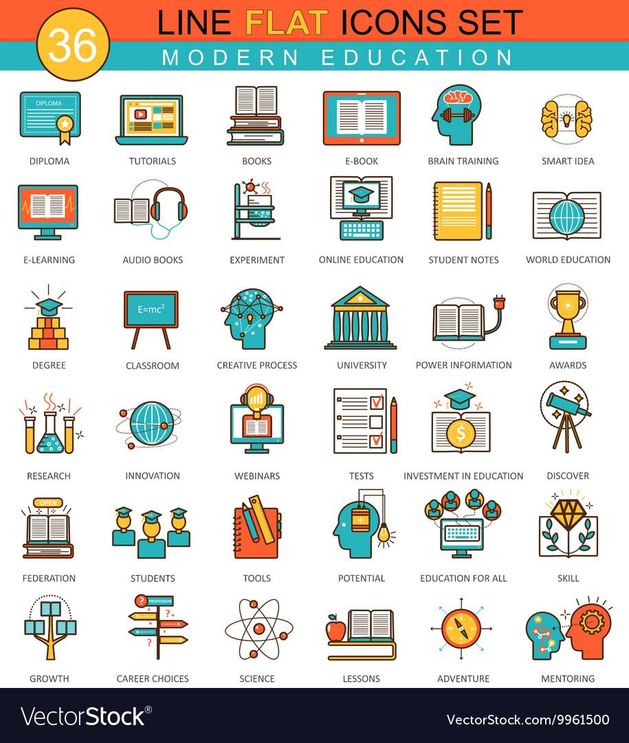 Modern online education flat line icon set