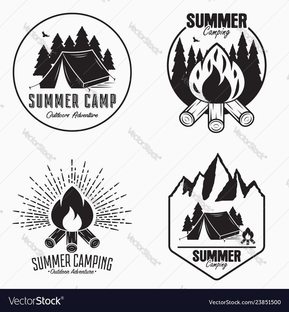 Vintage summer camp logo set camping badges and