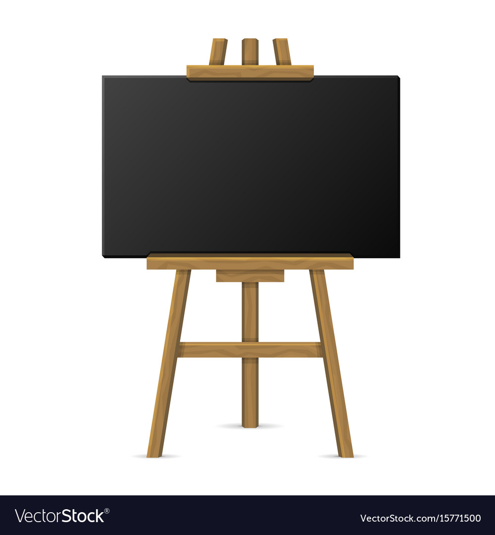 Wooden easel with blank chalkboard vector image