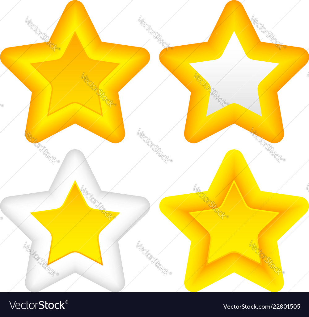 Bright stars with rounded corners thick outlines