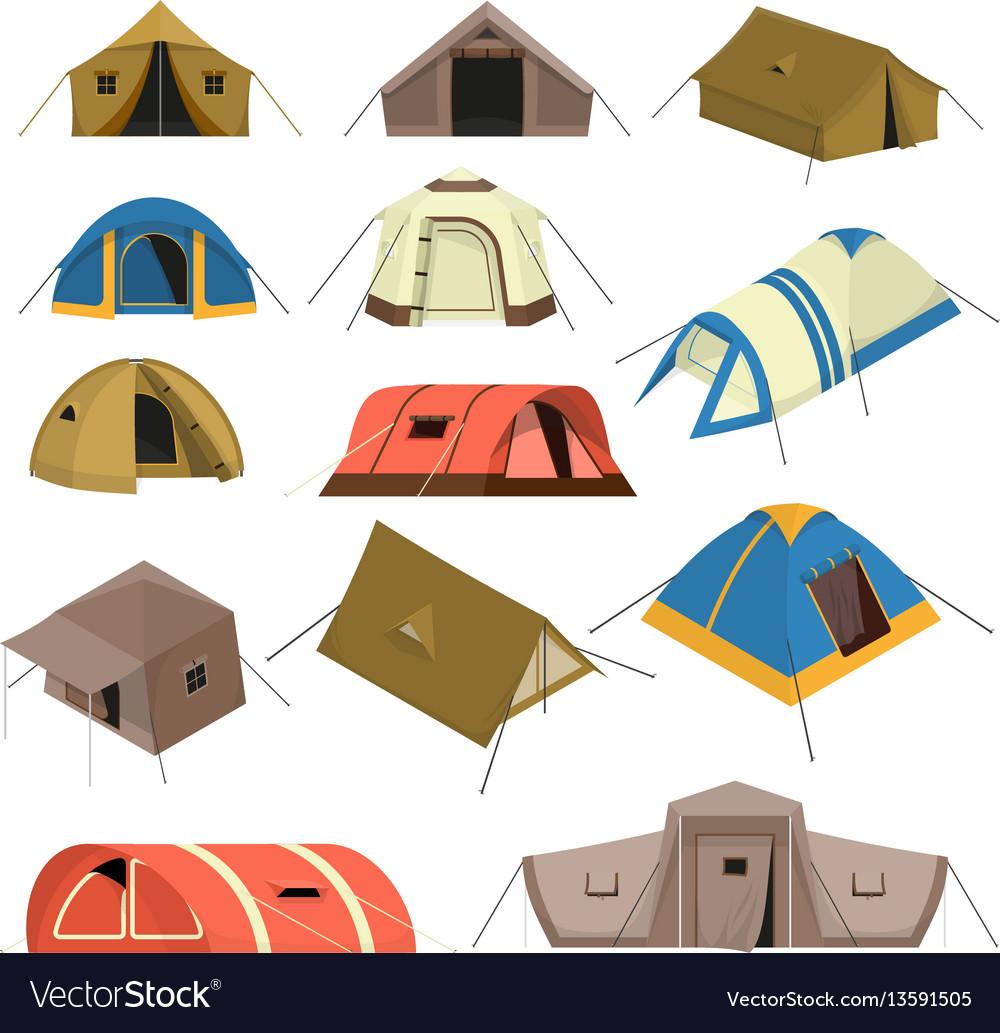 Colorful tourist tents set
