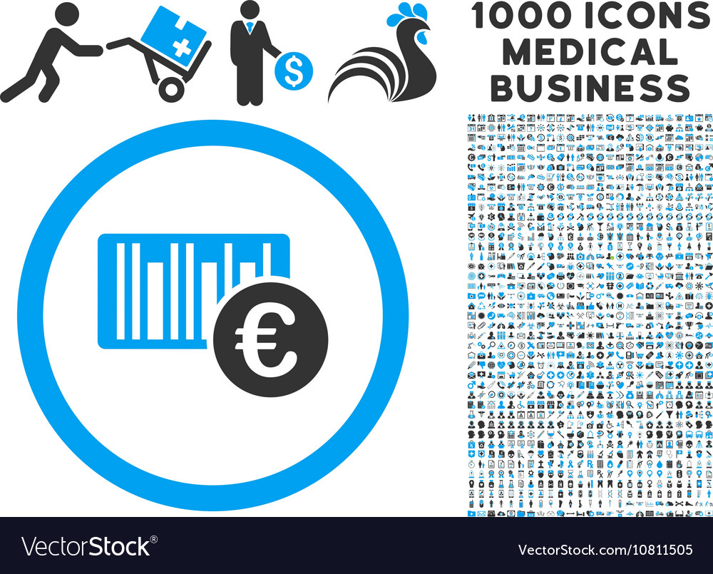 Euro Barcode Icon with 1000 Medical Business
