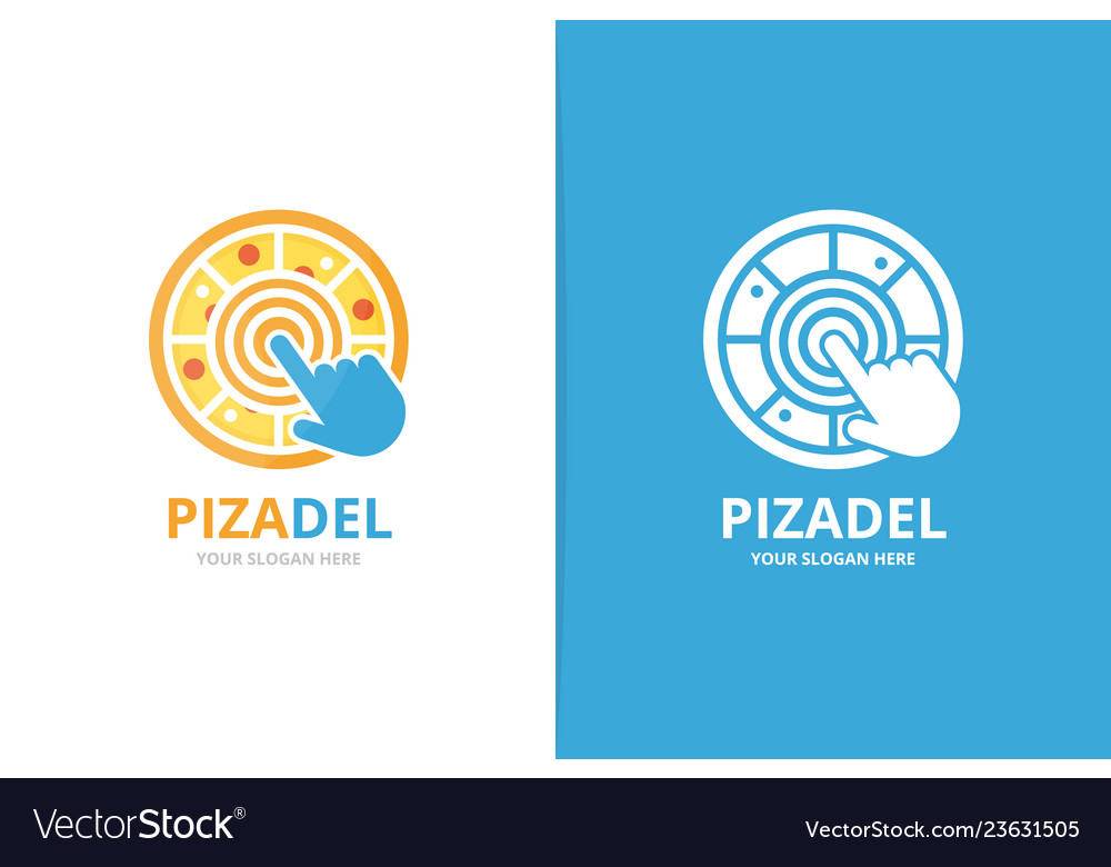 Pizza and click logo combination food and