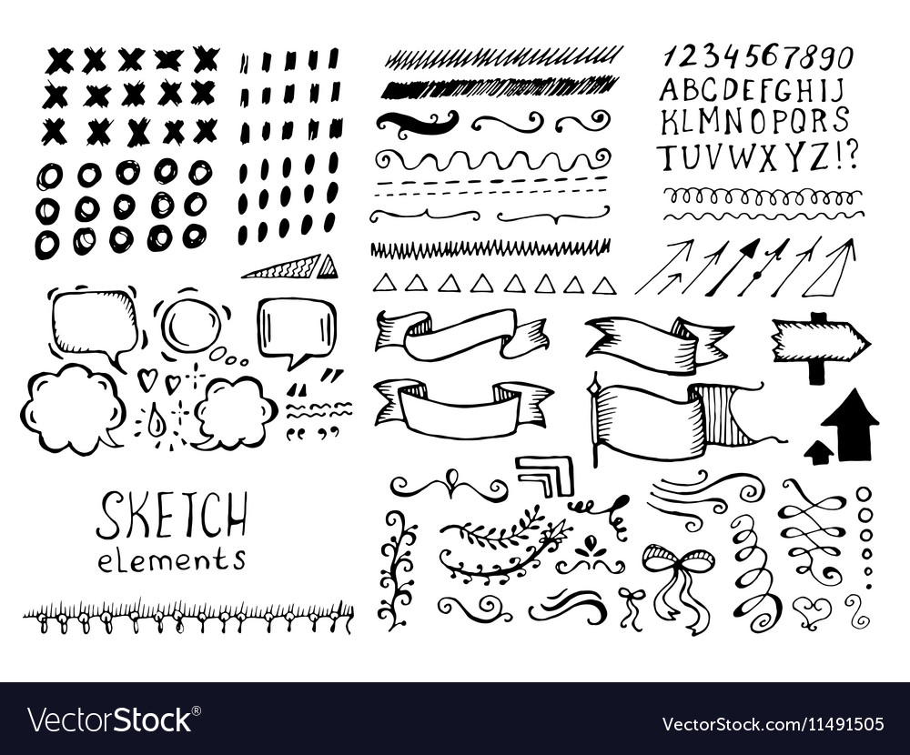 Set of different elements in doodle style