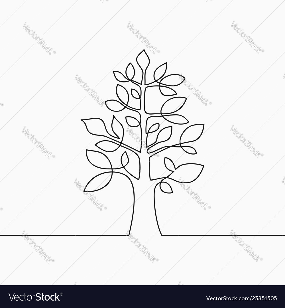 Tree with leaf one line