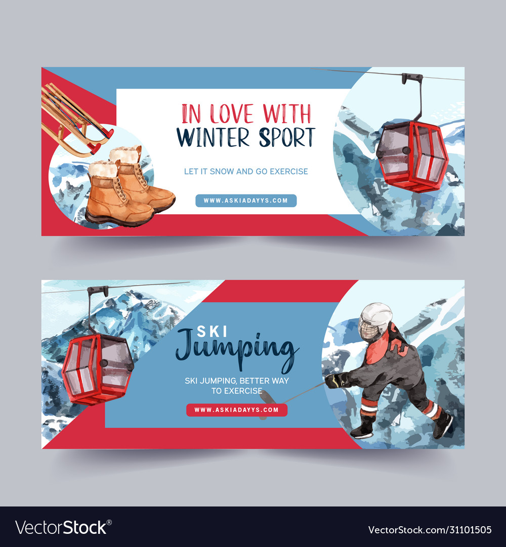 Winter sport banner design with boots hockey