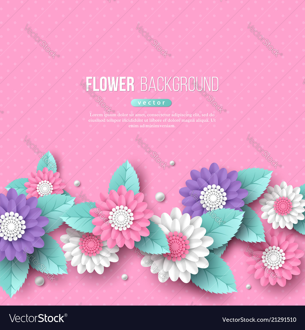 Banner With Paper Cut 3d Flowers In Pink White Vector Image