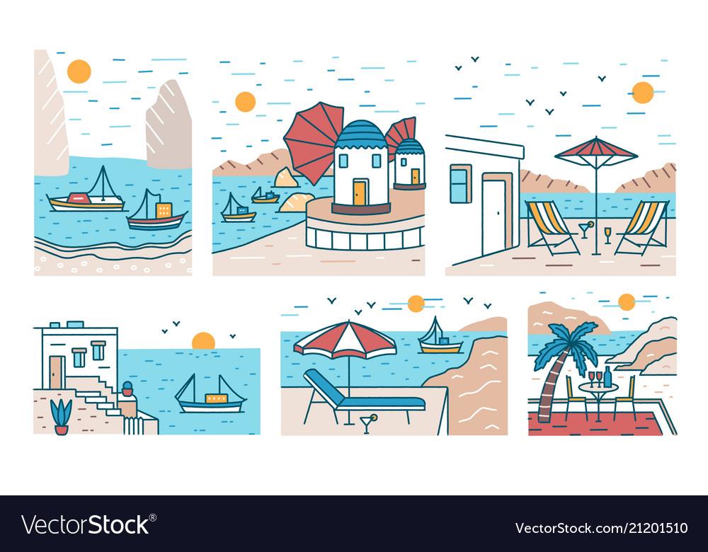 Bundle of summer sceneries with sea or ocean